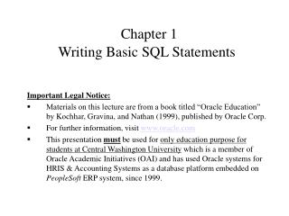 Chapter 1 Writing Basic SQL Statements