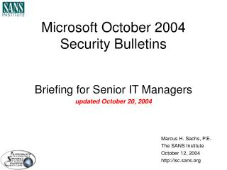 Microsoft October 2004 Security Bulletins