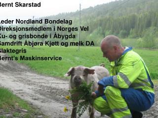 Bernt Skarstad Leder Nordland Bondelag Direksjonsmedlem i Norges Vel Ku- og grisbonde i Åbygda
