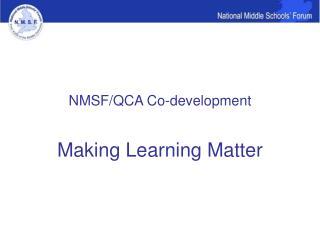 NMSF/QCA Co-development
