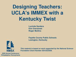 Designing Teachers: UCLA's IMMEX with a Kentucky Twist