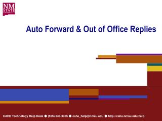 Auto Forward & Out of Office Replies