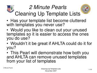 2 Minute Pearls Cleaning Up Template Lists
