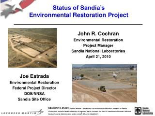 Status of Sandia's  Environmental Restoration Project