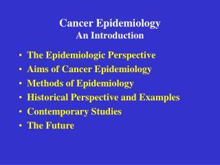 Cancer Epidemiology An Introduction