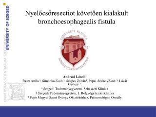 Nyelőcsőresectiot követően kialakult bronchoesophagealis fistula