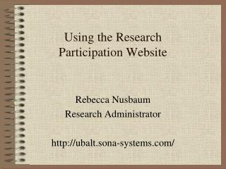 Using the Research  Participation Website