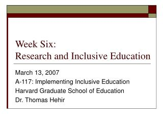 Week Six: Research and Inclusive Education