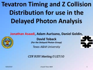 Tevatron Timing and Z Collision Distribution for use in the Delayed Photon Analysis