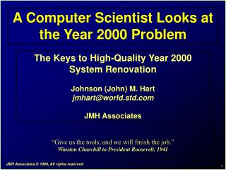 A Computer Scientist Looks at the Year 2000 Problem