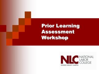 Prior Learning Assessment Workshop