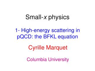 Small- x  physics 1- High-energy scattering in pQCD: the BFKL equation
