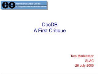 DocDB A First Critique
