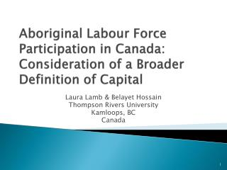 Aboriginal Labour Force Participation in Canada: Consideration of a Broader Definition of Capital