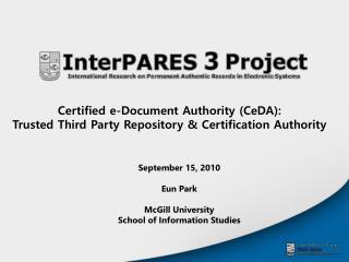 Certified e-Document Authority (CeDA):  Trusted Third Party Repository & Certification Authority