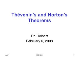 Th venins and Norton s Theorems