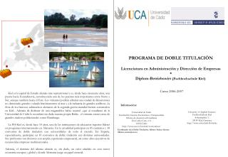 PROGRAMA DE DOBLE TITULACIÓN Licenciatura en Administración y Dirección de Empresas *