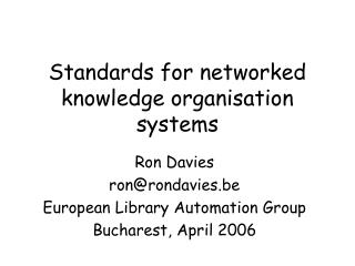 Standards for networked knowledge organisation systems