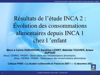 R sultats de l  tude INCA 2 :  volution des consommations alimentaires depuis INCA 1 chez l  enfant