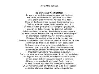 Annie M.G. Schmidt  De Brievenbus Wou Niet Meer