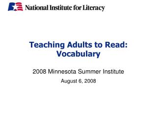 Teaching Adults to Read:  Vocabulary