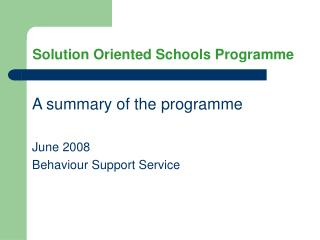 Solution Oriented Schools Programme