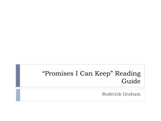 """""""Promises I Can Keep"""" Reading Guide"""