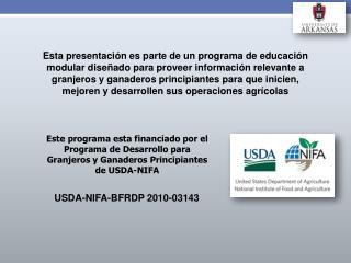 USDA-NIFA-BFRDP 2010-03143