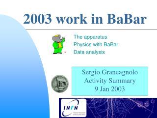 2003 work in BaBar
