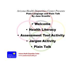 Welcome Health Literacy Assessment Tool Activity  Jargon Activity Plain Talk