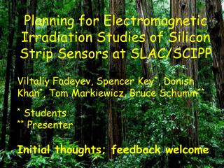 Planning for Electromagnetic Irradiation Studies of Silicon Strip Sensors at SLAC/SCIPP