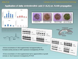 Application of delta- aminolevulinic  acid (  -ALA) on  Azolla  propagation
