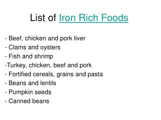 Iron Deficiency - Iron Rich Foods