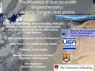 The influence of dust on ocean biogeochemistry; chasing Saharan dust storms