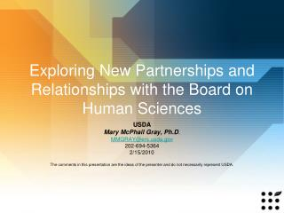 Exploring New Partnerships and Relationships with the Board on Human Sciences