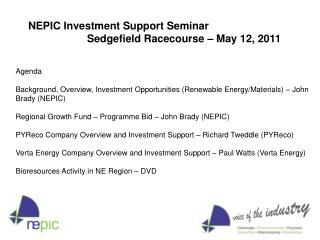 Agenda  Background, Overview, Investment Opportunities Renewable Energy