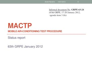 MacTP Mobile  air-conditioning  test procedure