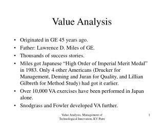 Value Analysis, Management of Technological Innovation, KV Patri