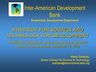 Inter-American Development Bank Sustainable Development Department