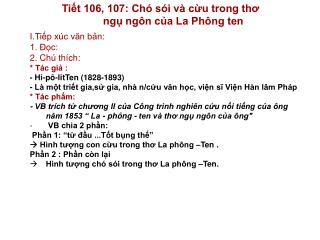 Tiết 106, 107: Chó sói và cừu trong thơ                ngụ ngôn của La Phông ten