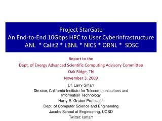 Report to the  Dept. of Energy Advanced Scientific Computing Advisory Committee Oak Ridge, TN