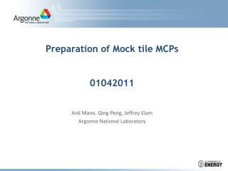 Preparation of Mock tile MCPs 01042011