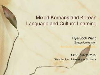Mixed Koreans and Korean Language and Culture Learning
