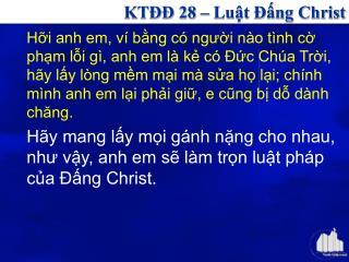 KTĐĐ 28 – Luật Đấng Christ