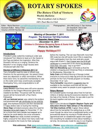 ROTARY SPOKES              The Rotary Club of Ventura Weekly Bulletin