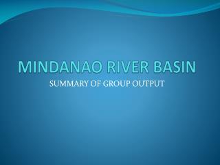 MINDANAO RIVER BASIN