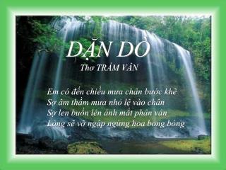 DẶN DÒ Thơ  TRẦM VÂN