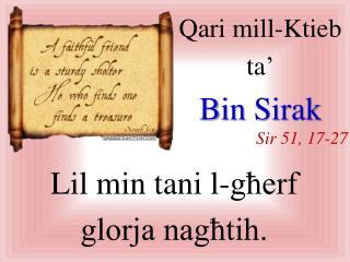 Qari  mill-Ktieb  ta� Bin  Sirak Sir  51, 17-27