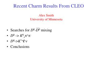 Recent Charm Results From CLEO