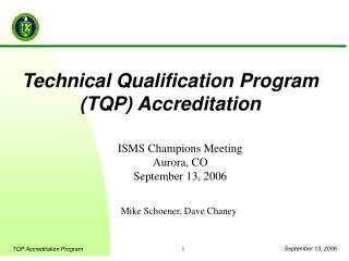 Technical Qualification Program (TQP) Accreditation